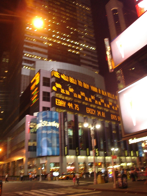 the stocks on Times Square